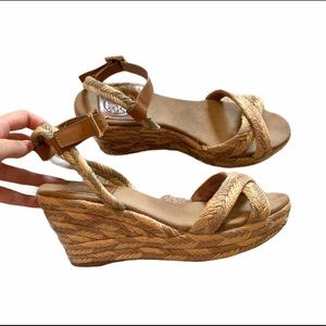 Tory Burch Wedges Straw Espadrille Heels Crossover